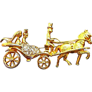 Vintage Jomaz Rhinestone Horse Drawn Carriage Pin