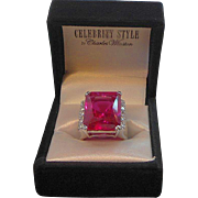 Vintage Celebrity Style Charles Winston Sterling Silver Magenta Red CZ Ring MIB Size 8