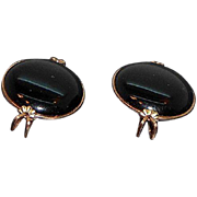 Vintage Hillcraft Black Lucite Slide On Earrrings