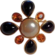 Vintage Joan Rivers Black Orange Imitation Pearl Maltese Cross Brooch