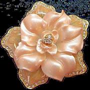 Vintage Nolan Miller Layered Pink Enameled Rhinestone Flower Brooch