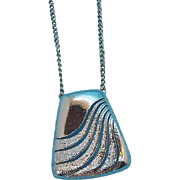 Retro Geometric Design Silvertone Metal Pendant Necklace