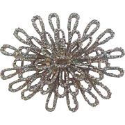 Trifari Dimensional Textured Silvertone Metal Flower Brooch