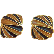 Vintage Trifari Orange Black Enameled Goldtone Metal Clip on Earrings