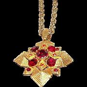 Vintage Red Orange Rhinestones Geometric Design Maltese Cross Pendant Necklace