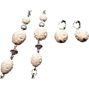 Vintage Sarah Coventry White Beaded Silvertone Metal Necklace Earring Set