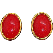 Vintage Liz Claiborne Large Oval Red Clip on Earrings