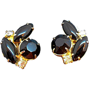 Vintage Black Rhinestone Goldtone Metal Clip on Earrings
