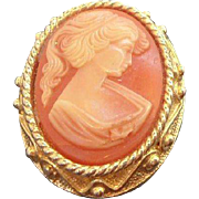 Vintage Sarah Coventry Goldtone Metal Thermoset Plastic Cameo Brooch