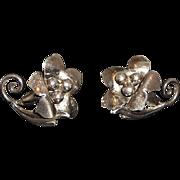 Vintage Dainty Sterling Silver Dimensional Flower Adjustable Screw On Earrings