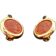 Vintage Goldtone Metal Rhinestones Cameo Profile Clip on Earrings