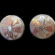 Vintage Round  Textured Silvertone Metal  Flowers  Leaves Adjustable Screw On Earrings