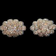Vintage Clear Rhinestones Silvertone Metal Adjustable Screw On Earrings