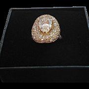 Vintage Cubic Zirconia Sterling Silver Ring Signed Daniel K  Size 8