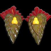 Vintage Unusual Carved Layered Dimensional Bakelite Clip on Earrings