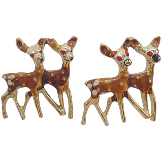 Vintage Goldtone Enameled Metal Deer Scatter Pins