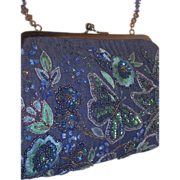 Embellished Beaded & Sequined Blue Handbag with Flowers & Butterflies