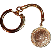 Vintage Key Ring or Key Chain with 1906 Indian Head Penny