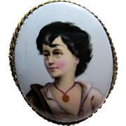 large early Antique hand painted Porcelain Portrait Brooch pin