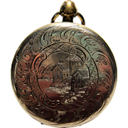 Antique Victorian Pocket Watch Locket Engraved Scene tin type daguerreotype photo watchcase