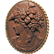 Antique Lava Cameo Brooch