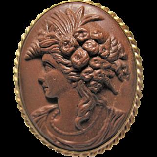 Antique Lava Cameo Brooch