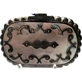 Antique Mother of Pearl Cut Steel Souvenir Coin Purse