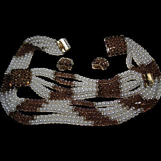 vintage HOBE parure sim Pearl Topaz Crystal Necklace Bracelet Earring original box