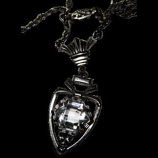 Edwardian Deco Sterling Crystal Drop Lavaliere Necklace