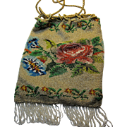 Antique Victorian micro bead purse Drawstring bag