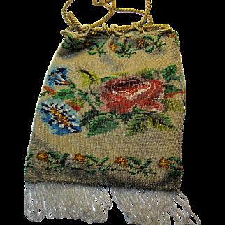 Antique Victorian micro bead purse Drawstring bag