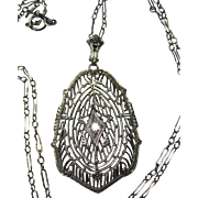 Antique Art Deco Nouveau 10k Filigree Diamond pendant necklace