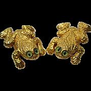 Rare 1980s Designer Margarita Barrera Frog Earrings Large glass eyes