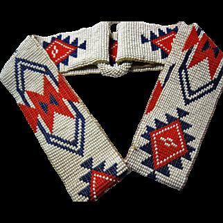 early Native American Indian Bead work Belt glass beaded