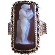 antique 14k rose gold  Hard stone Cameo Ring full figure