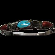 Zuni Turquoise Coral Nugget Cuff Bracelet by Carmelita Simplicio