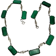 vintage Art Deco Sterling Chrysoprase Necklace