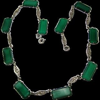 vintage Art Deco Sterling Chrysoprase Necklace