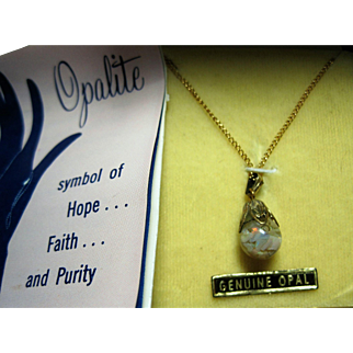 1977 OPALITE Floating Opal pendant Necklace gold filled orig box