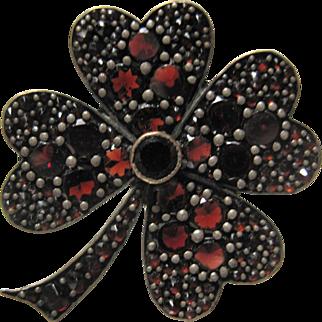 c 1900 Silver Gilt Bohemian GARNET Shamrock Clover Brooch pin