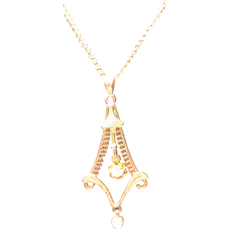 10k Victorian Diamond Pearl Lavaliere Necklace rose & green gold