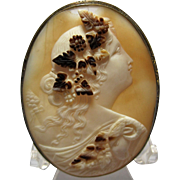 Large Early Antique BACCHANTE Maiden Cameo carved shell detailed