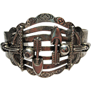 1950s vintage signed SANFORD Native American Southwest silver tone Cuff Bracelet