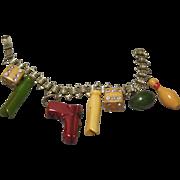 vintage Bakelite figurals Charm Bracelet