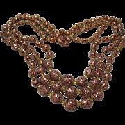 vintage Triple Strand Art Glass Murano Foil Beads Necklace Cranberry Adventurine