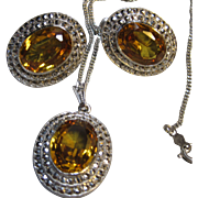 Stunning vintage Deco Sterling Marcasite Necklace Earrings Citrine Glass