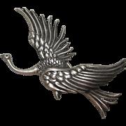 Rare 1940s Sterling Danecraft Victor Primavera Large Bird Brooch pin reg.us.pat.off