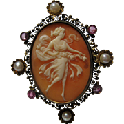 14k Gold Ruby Pearl PSYCHE full figure Cameo Brooch Pin