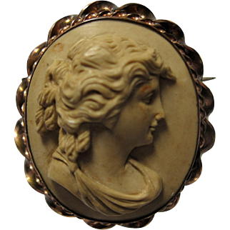 early gold filled carved LAVA Cameo brooch pin