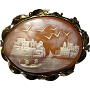 Large Antique gold filled carved Scenic Cameo Brooch pin